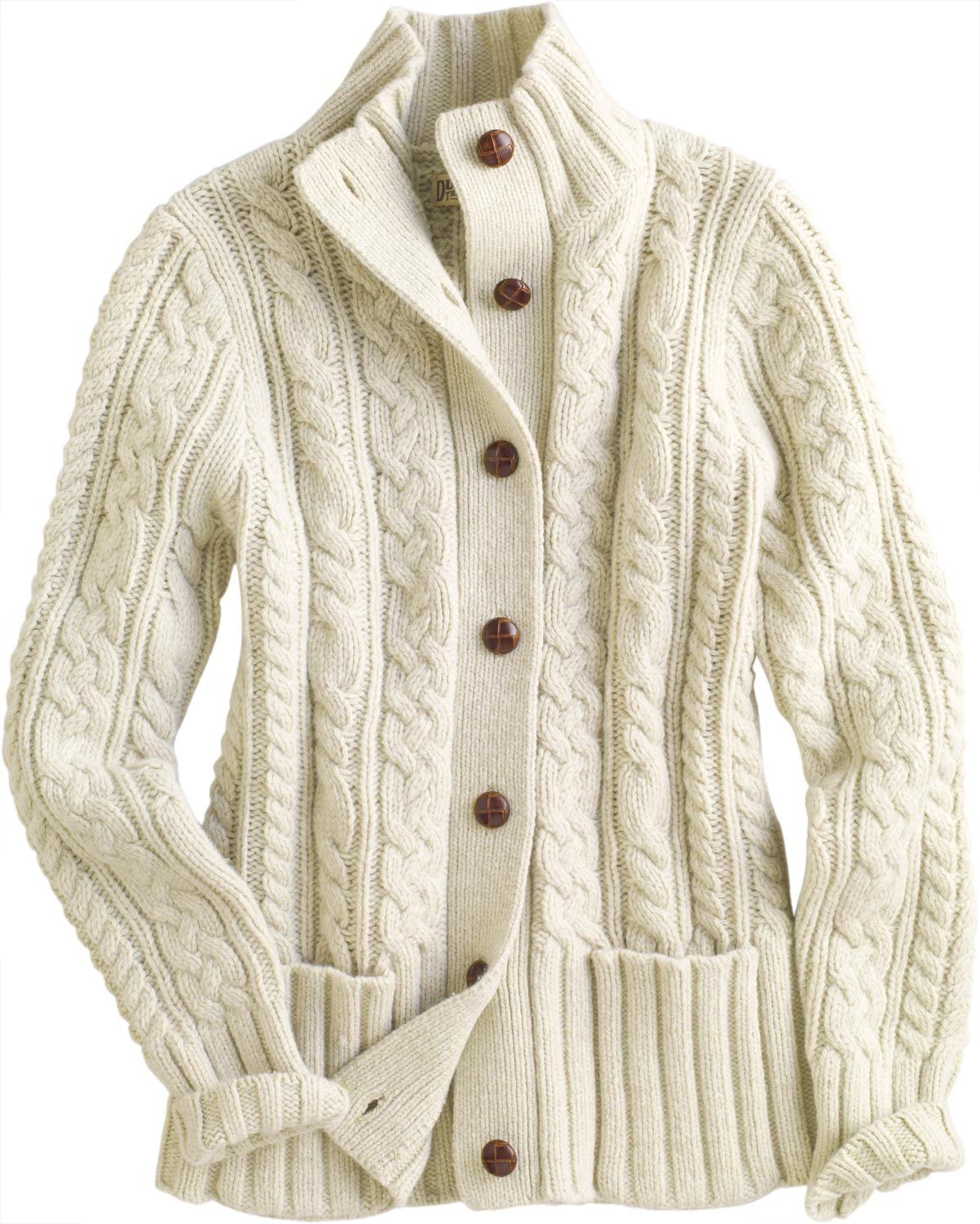 725a3e8f2bce5f The women's Fisherman Cardigan Sweater looks like a classic. But - wowza! -  with a smidge of cashmere mixed in wait'll you feel it.