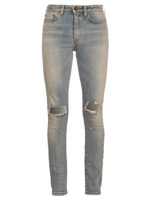 Distressed mid-rise skinny jeans | Saint Laurent | MATCHESFASHION.COM