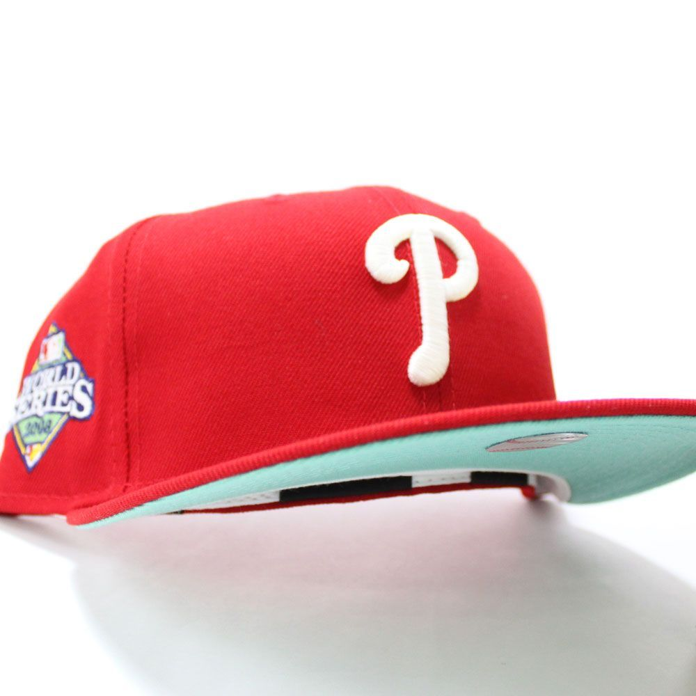 Philadelphiaphillies 2008 World Series 59fifty Fitted Neweracap In Red Glow In The Dark Logo And With Mintunderbrim In 2021 Fitted Hats New Era Cap New Era Hats