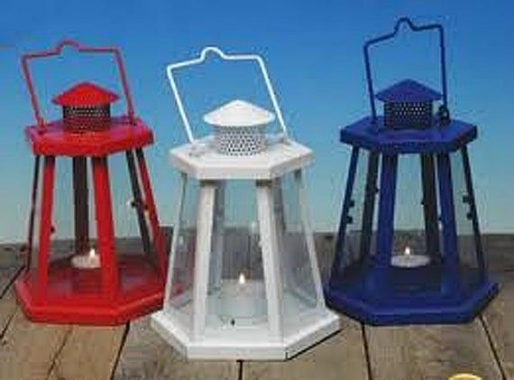 Red, White or Blue Hanging Metal Lighthouse Candle Lantern for Wedding, Shower, Beach Party Decor, Gift Baskets, Centerpiece
