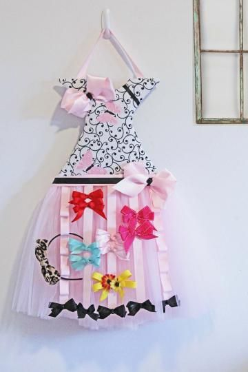 Girls Hair Bow Organizer-Bow Storage-Tutu Dress Design Wall Hanging ...