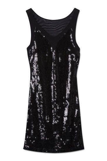 Schwarzes Pailletten-Kleid mit transparenten Elementen