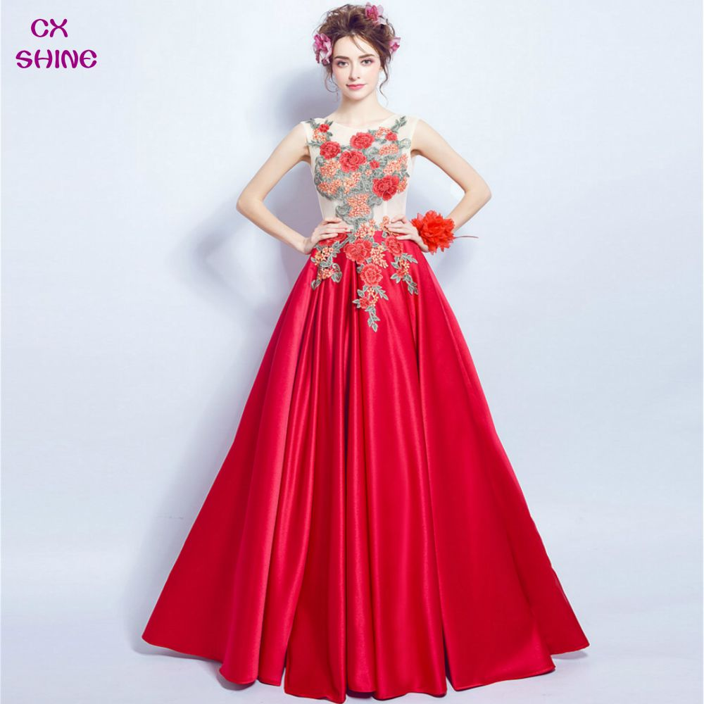 Wine red lace flower pattern bride gown long evening dresses prom