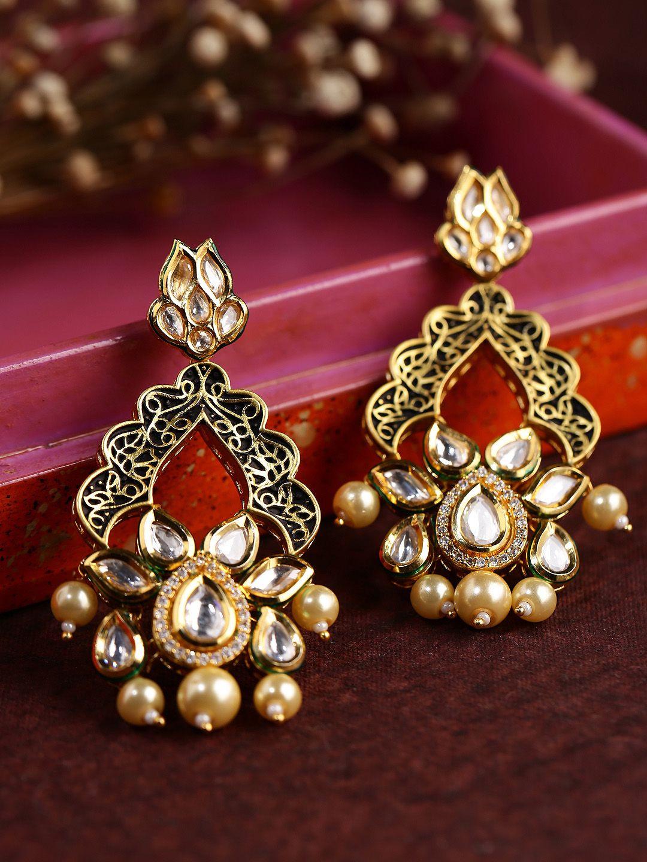 Dhruvi by zaveri pearls antique goldplated kundan drop earrings