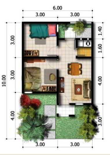 Contoh Denah Rumah Type 36 dengan Taman Sederhana | Denah ...