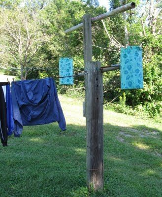 Country Homemade Clothes Line Pole Clothes Line Line Drying Line