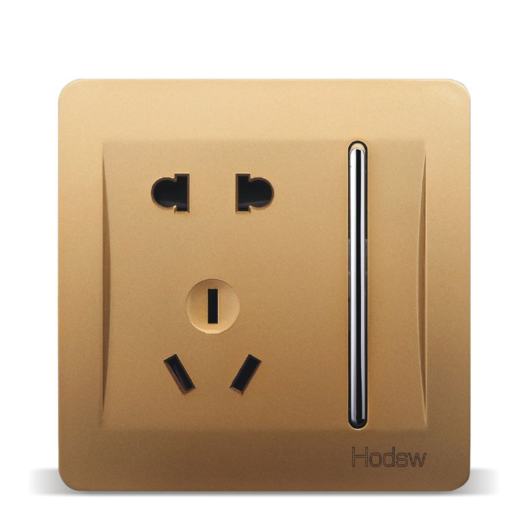 Home Wall Switch Power Socket Panel 86 Type Concealed Gold A Five Hole Socket With A Switch Panel Pc 220v 10a Sockets Electrical Equipment Paneling