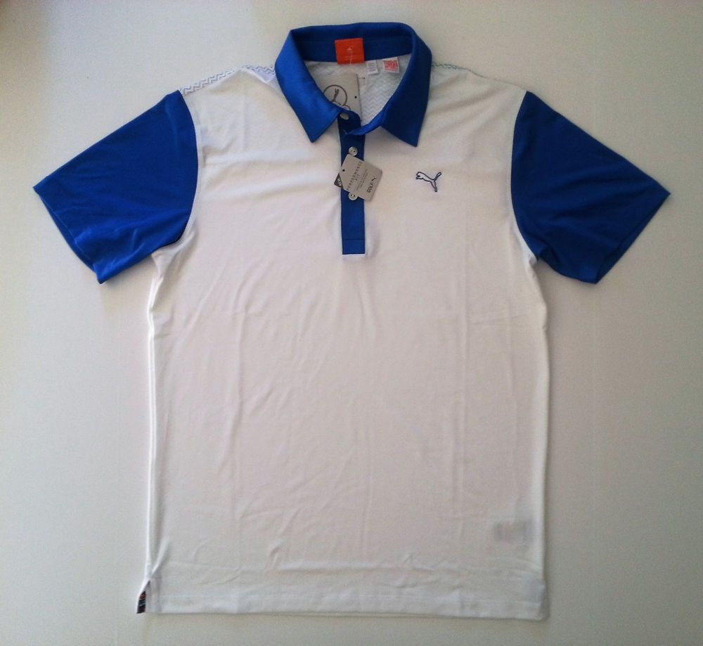 PUMA BACK PRINT PERFORMANCE FIT WHITE STRONG BLUE GOLF POLO SHIRT (SMALL  )-- NEW