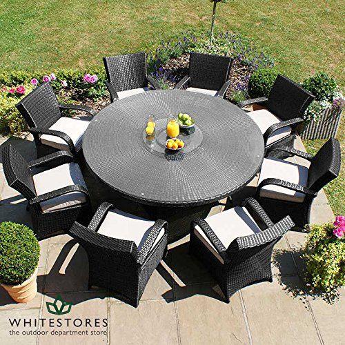 maze rattan outdoor garden furniture texas 8 seat 18m round table rattan dining set - Garden Furniture 8 Seats