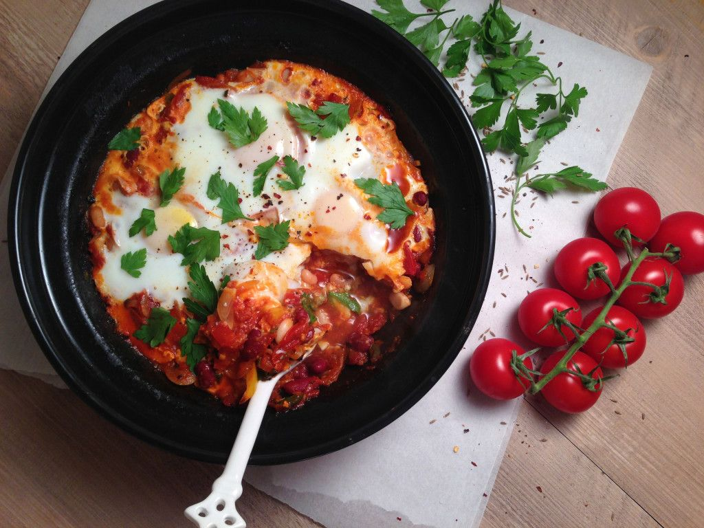 Three bean tagine with baked eggs recipe beans and egg three bean tagine with baked eggs forumfinder Image collections