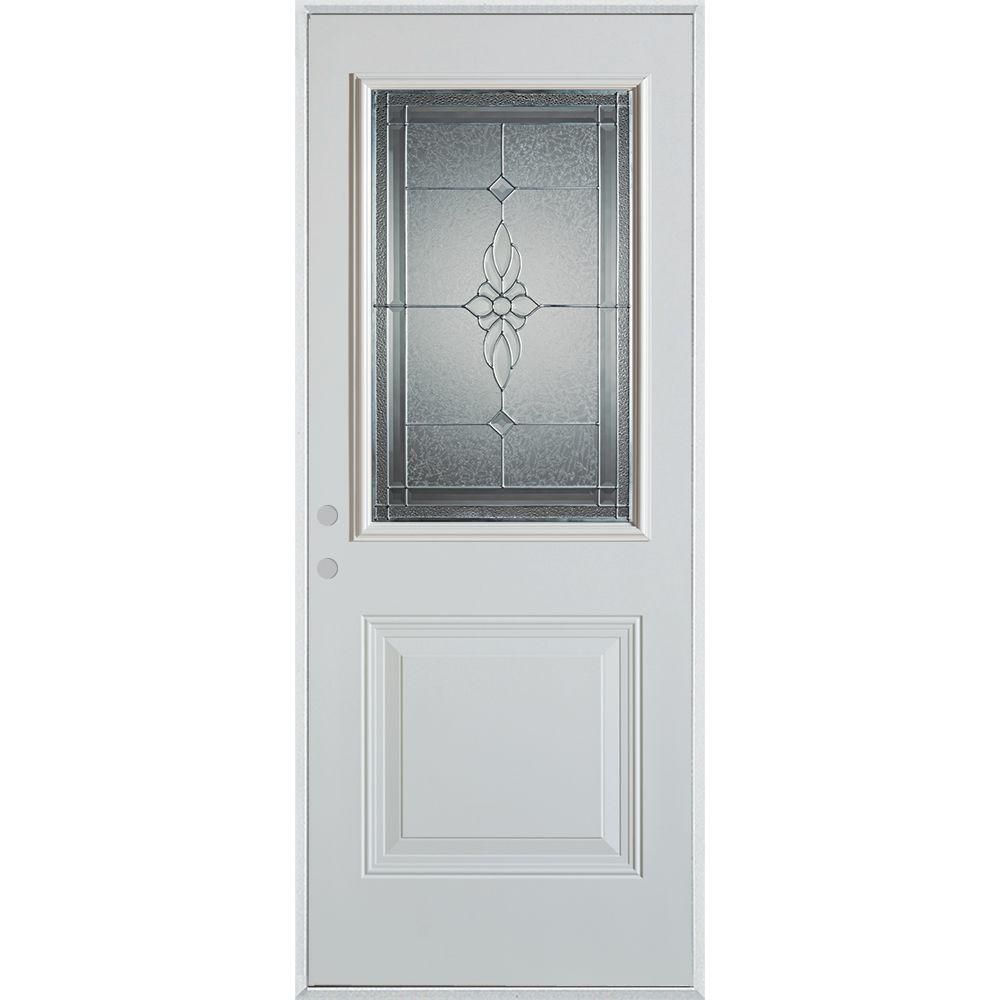 Stanley Doors 36 In X 80 In Victoria Zinc 1 2 Lite 1 Panel Prefinished White Right Hand Inswing Steel Prehung Front Door Prefinished White Zinc Decorative Hinges Modern Door Exterior Doors