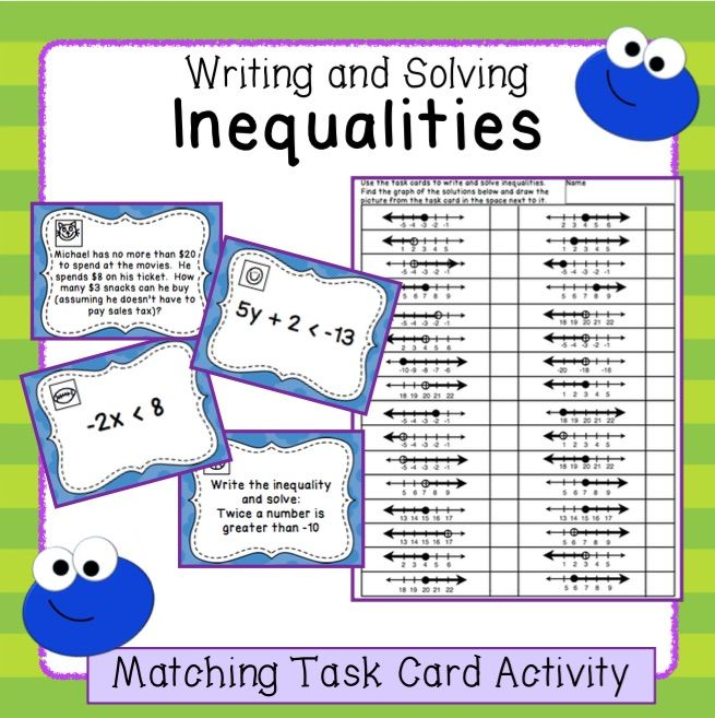 Inequalities Writing Solving And Graphing Task Card Activity Task Card Activities Graphing Inequalities Task Cards