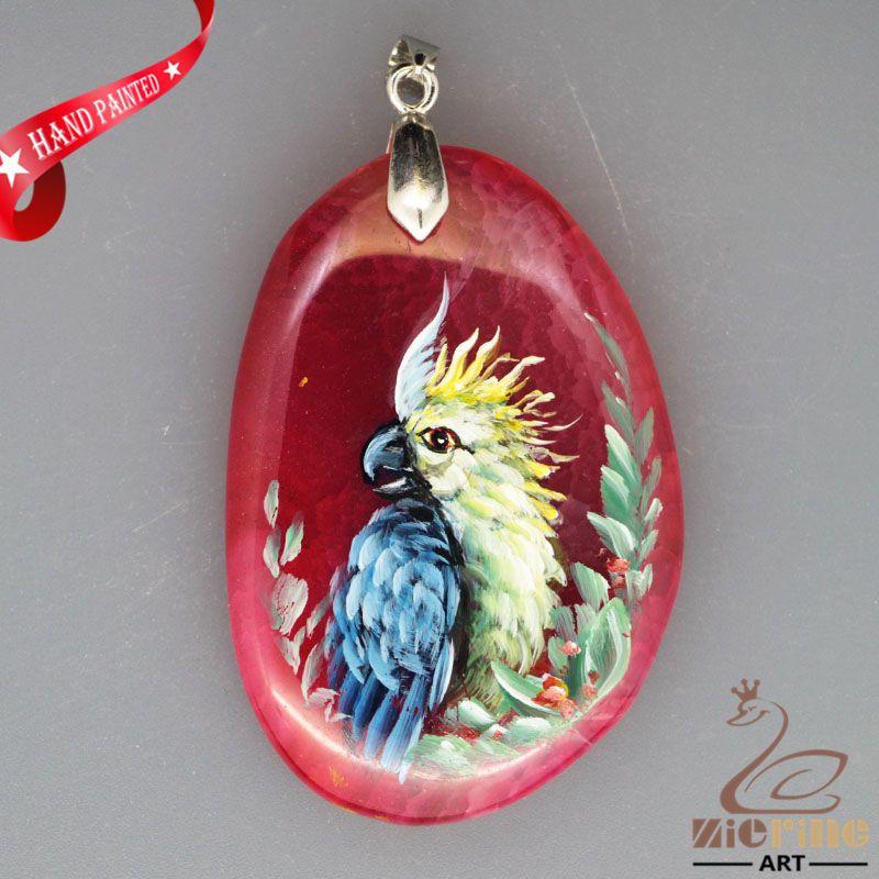 HAND PAINTED PARROT BIRD RED VEIN CHALCEDONY GEMSTONE PENDANT ZL8016322 #ZL #PENDANT