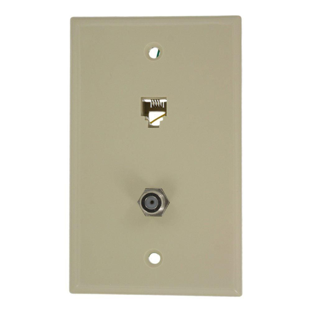 leviton 6p4c f connector wall phone jack type 625d ivory on wall types id=57846