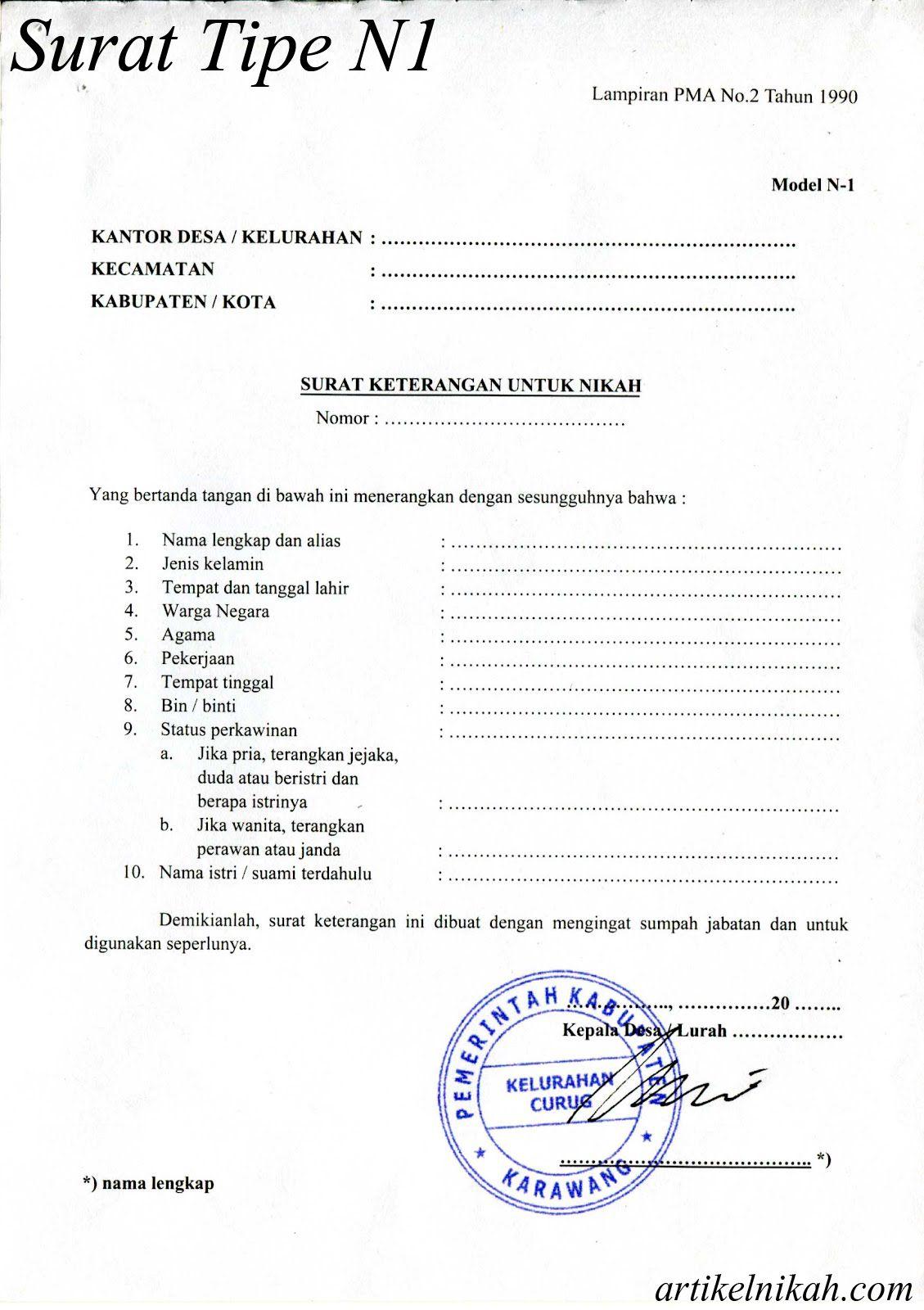 Contoh Surat Keterangan Nikah N1 N2 N3 N4 Nikah Surat Person