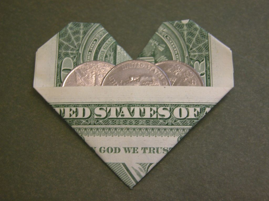Dollar bill heart origami dollar bill origami and origami paper design armin taubner book geldschein origami modified to a dollar bill this is a nice heart with a pocket to fit coins in jeuxipadfo Images