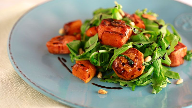 Super delish! Here's a twist using sweet potatoes for Thanksgiving. Try Butternut Squash and Sweet Potato with Arugula and Balsamic.