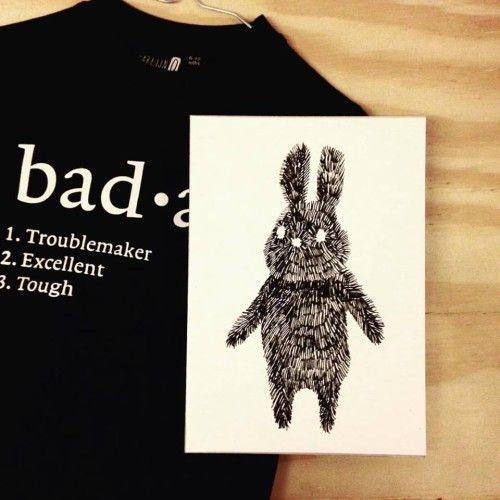 Poster gestreepte konijn / Studio Rainbow prints - Badass Rabbit striped