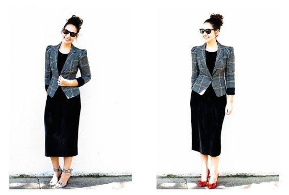 Frugal Friday: The Basics. What to layer on top of a black midi dress