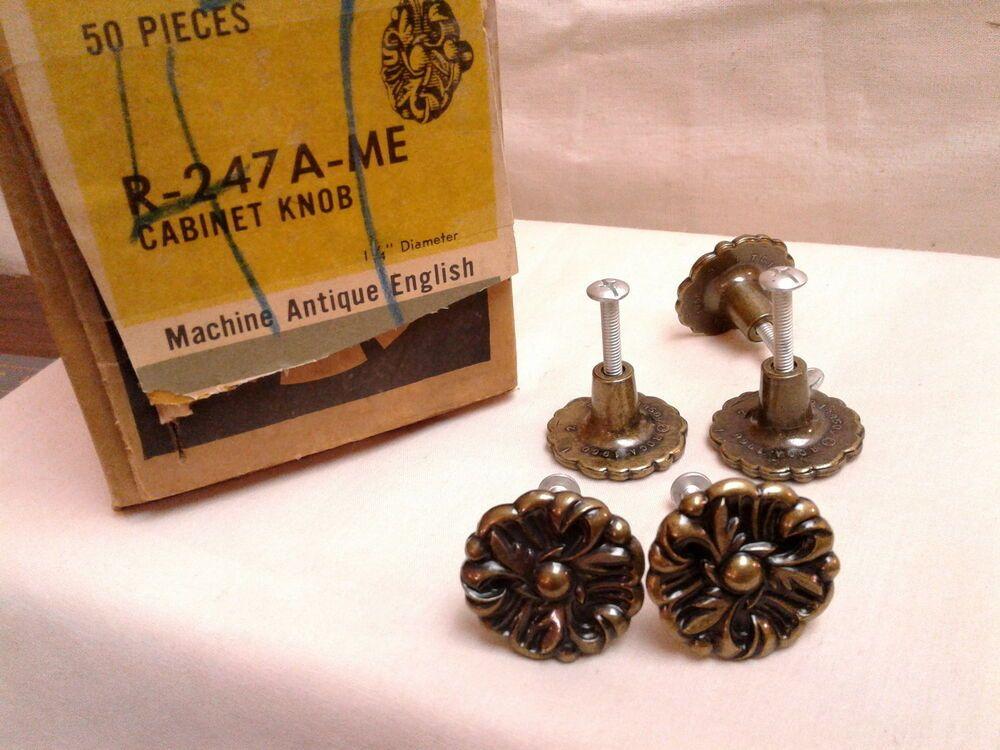 Vintage NOS Amerock Mid-Century Modern Brass Cabinet Knobs
