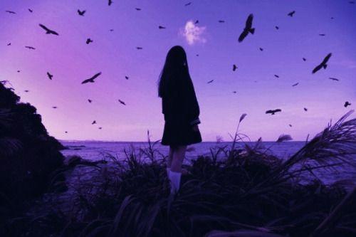 Purple Girl Sky Aesthetic Birds Purple Aesthetic Lilac Sky Purple