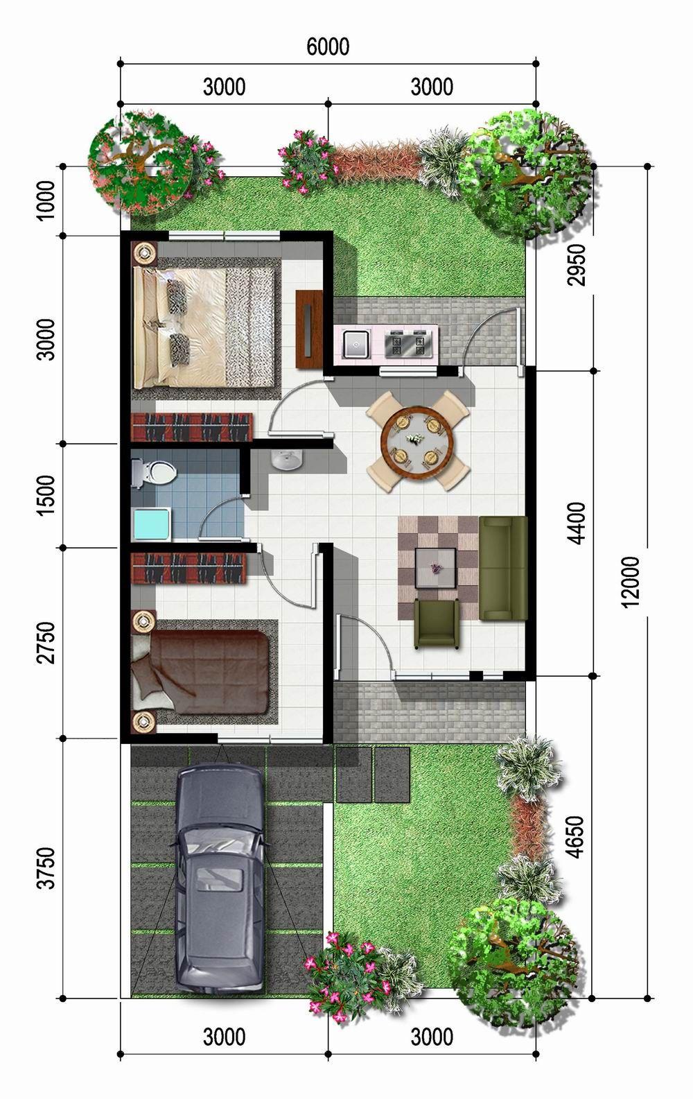 Sketsa Rumah Type 45 1 Lantai Model Minimalis Denah