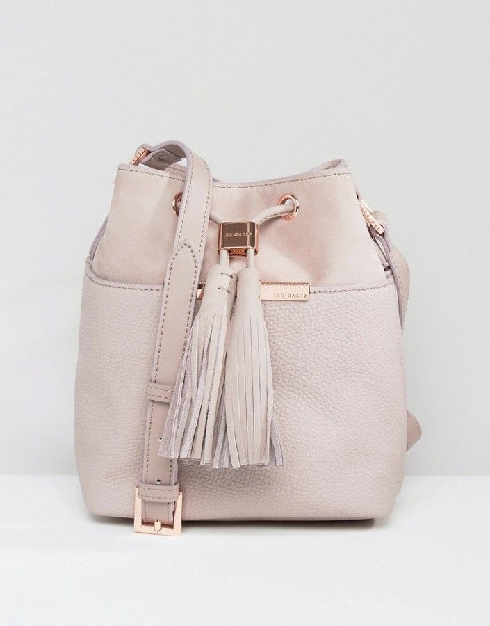 fc619dec18 Ted Baker Soft Leather Bucket Bag With Tassel Detail at ShopStyle ...