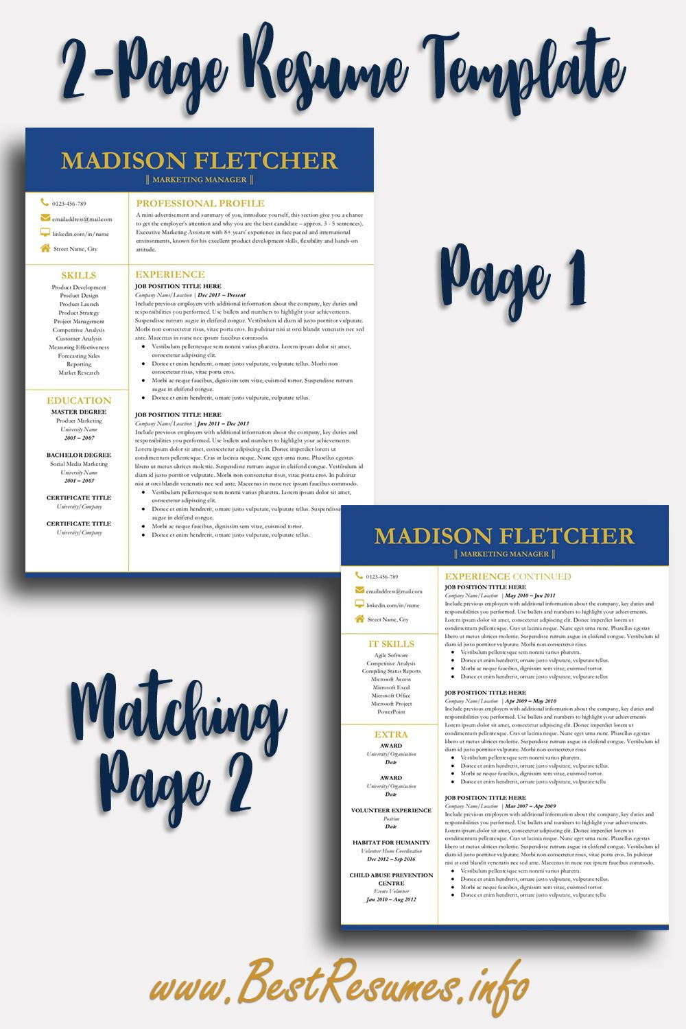 Elegant Resume Template Madison Fletcher - Teacher resume template, Business resume template, Job resume template, Best resume template, Resume layout, Resume template - Elegant Resume Template Madison Fletcher  Get this resume killer modern resume template for Google Docs and land the job! Check more here