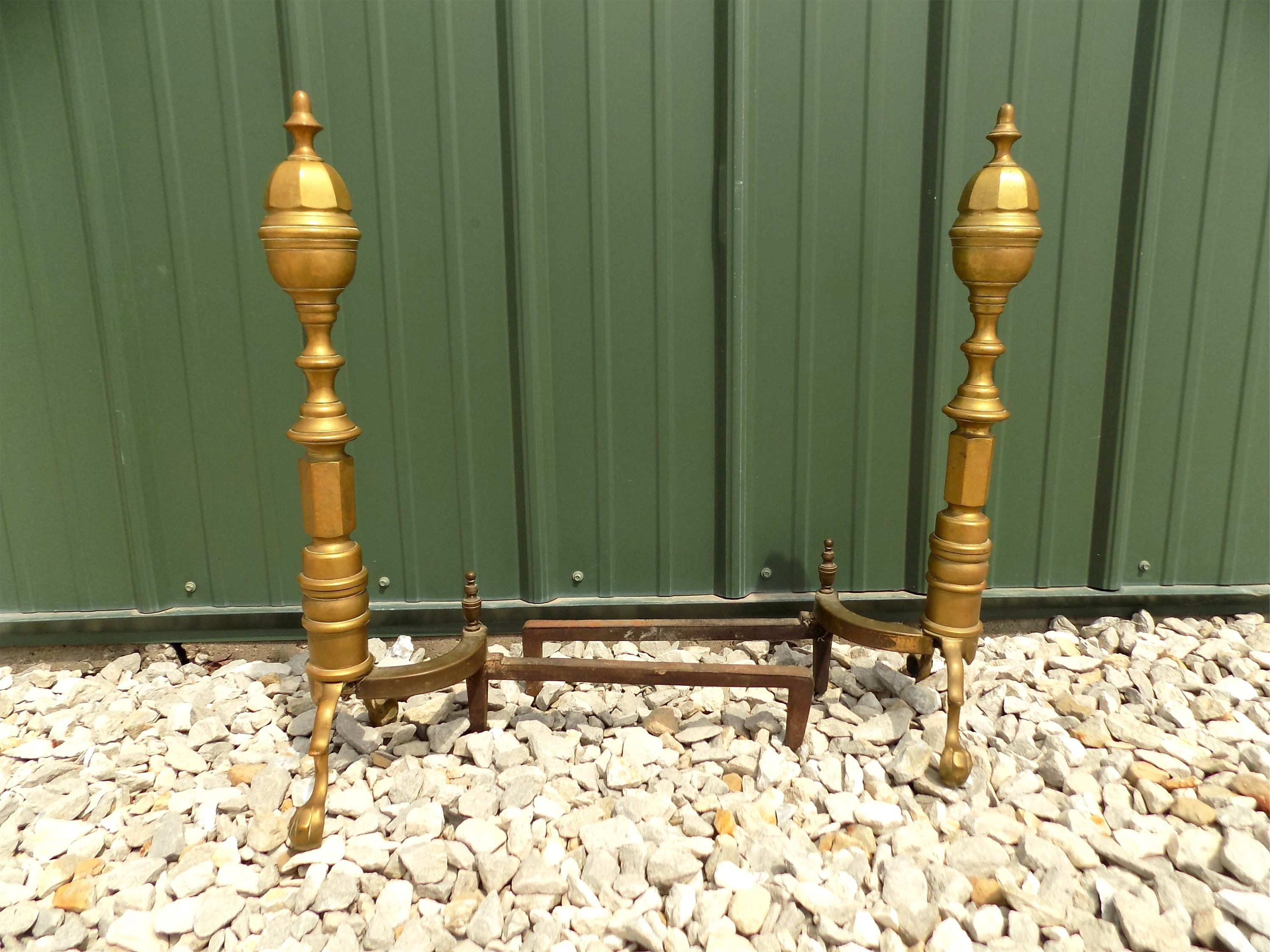 2 Brass Finial Fireplace Andirons Chenets Fire Dogs Decorative Vintage Tools B Vintage Fireplace Tools Vin Fireplace Andirons Vintage Fireplace Vintage Tools