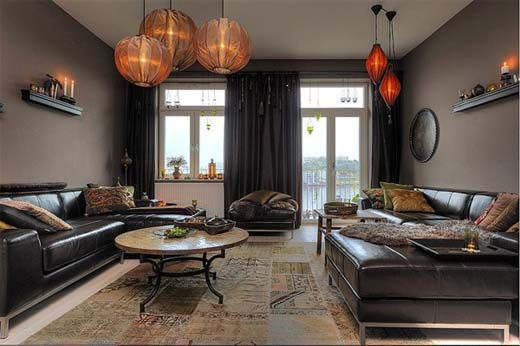 Interior Design Style: Chinese/Asian Living Room ✦ Characteristics: Bold  Fusion Of Black, Glossy Lacquer Accented With Gold Or Red; Paper #lighting  ...