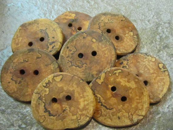 8 Spalted Apple Wood Tree Branch Buttons. Just by PymatuningCrafts, $8.00
