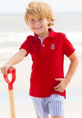 297b59a8 red polo july 4th classic boys monogrammed anchor summer golf ...