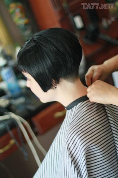 Short Graduated Bob With Fringe And Tapered Nape Hair