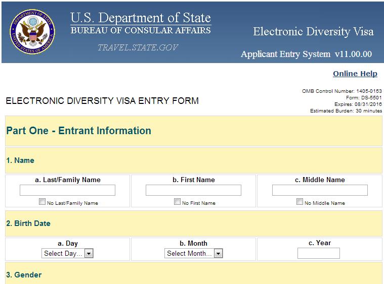 Dv Lottery Visa Application Form Lottery Application Form Application