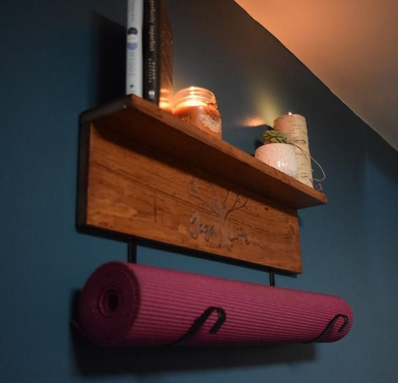 Personalized Yoga Mat Holder Wall Mount shelf for gym mat | Etsy