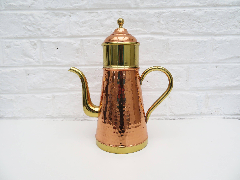 Vintage Brass Copper Coffee Maker 3 Piece Coffee Pot Kettle Etsy