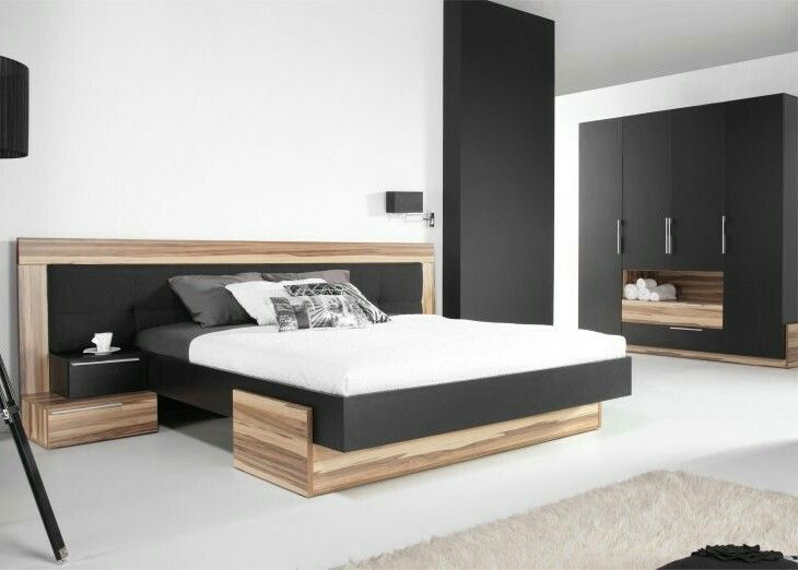 Stylform Doris Modern Floating Bed In Semi Solid Oak With Faux