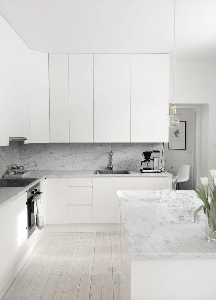 Le parquet clair c 39 est le nouveau hit d 39 int rieur pour 2017 parquet meuble cuisine blanc - Cuisine marbre blanc ...