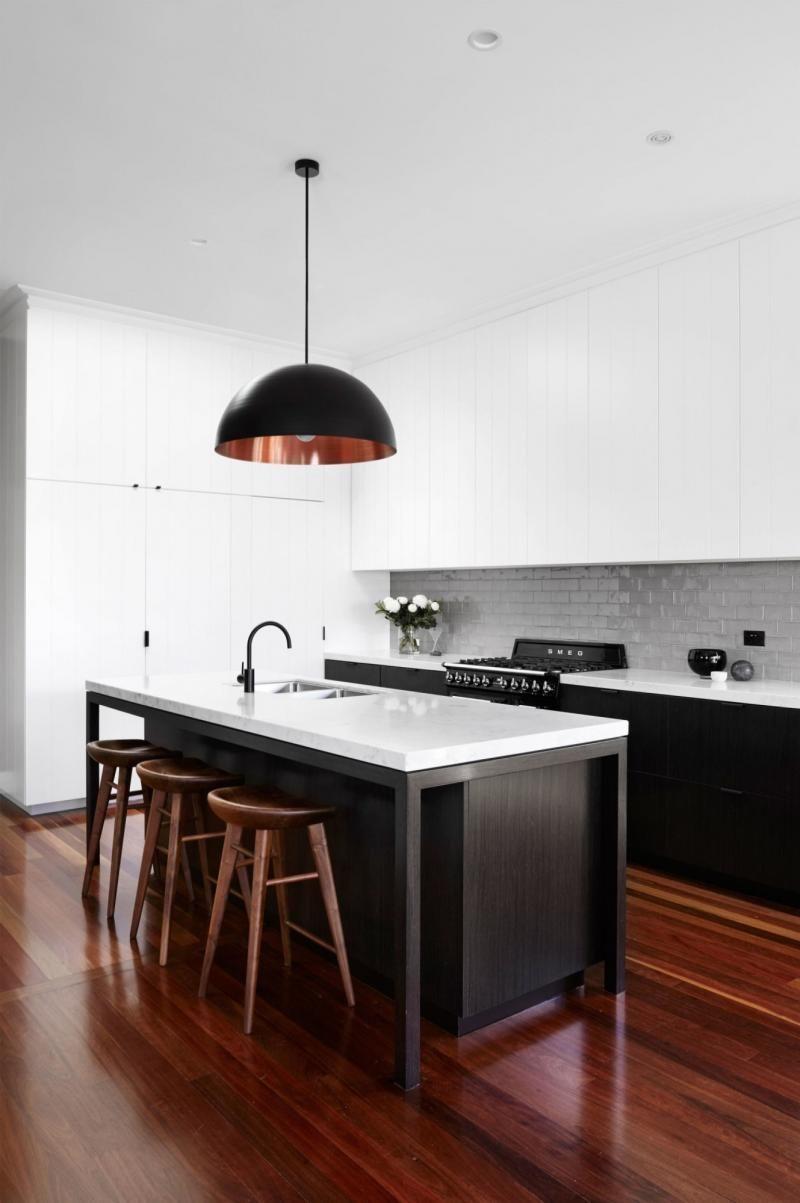 monochrome-kitchen-dark-timber-floors | kitchens | pinterest