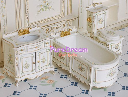 112 sink cabinet toilet tub dollhouse miniature victorian furniture bathroom whole set white handpainting - Bathroom Cabinets Victorian