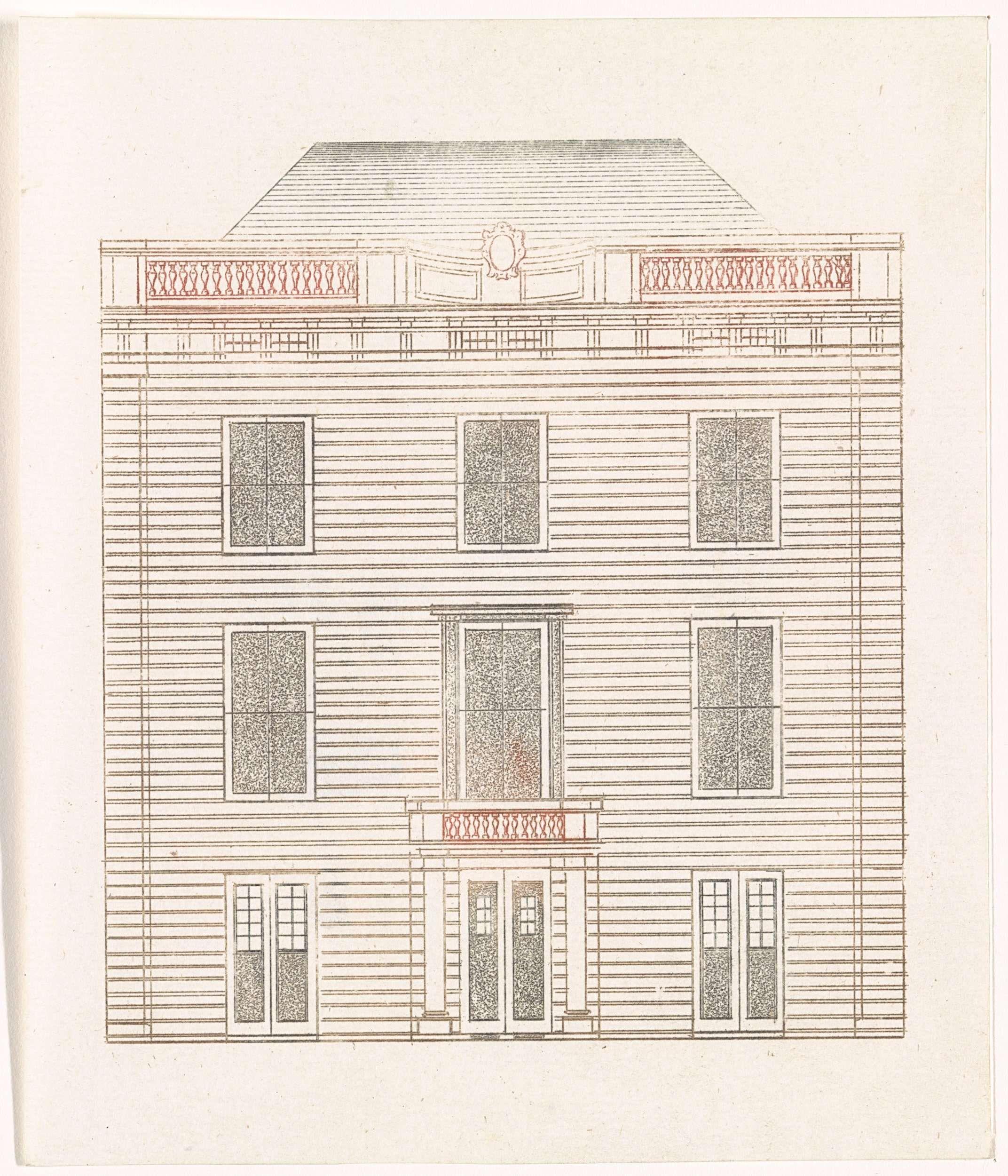 Anonymous | Gevel van een Amsterdams huis aan de Amstel, Anonymous, Cornelis Danckerts (II), Johan Teyler, 1696 - 1706 | Gevels van Amsterdamse huis aan de Amstel, nummer 216.