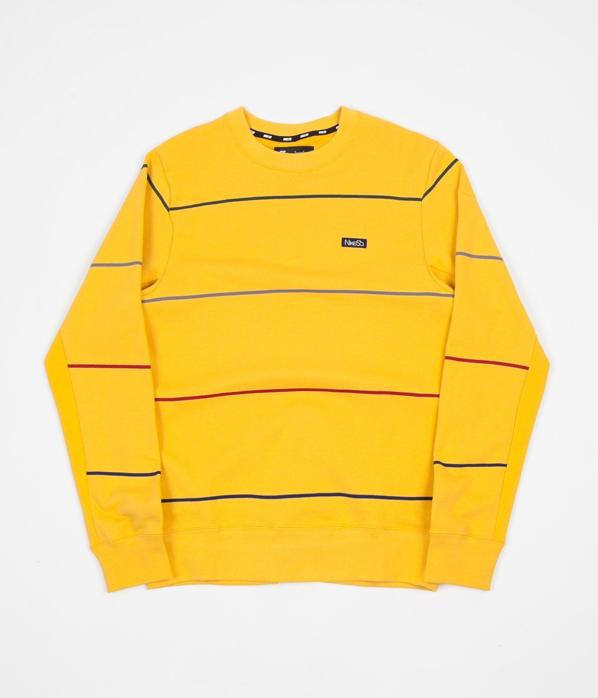 Nike Sb Everett Stripe Crewneck Sweatshirt Yellow Ochre Obsidian Yellow Sweatshirt Crew Neck Sweatshirt Sweatshirts [ 1400 x 1200 Pixel ]