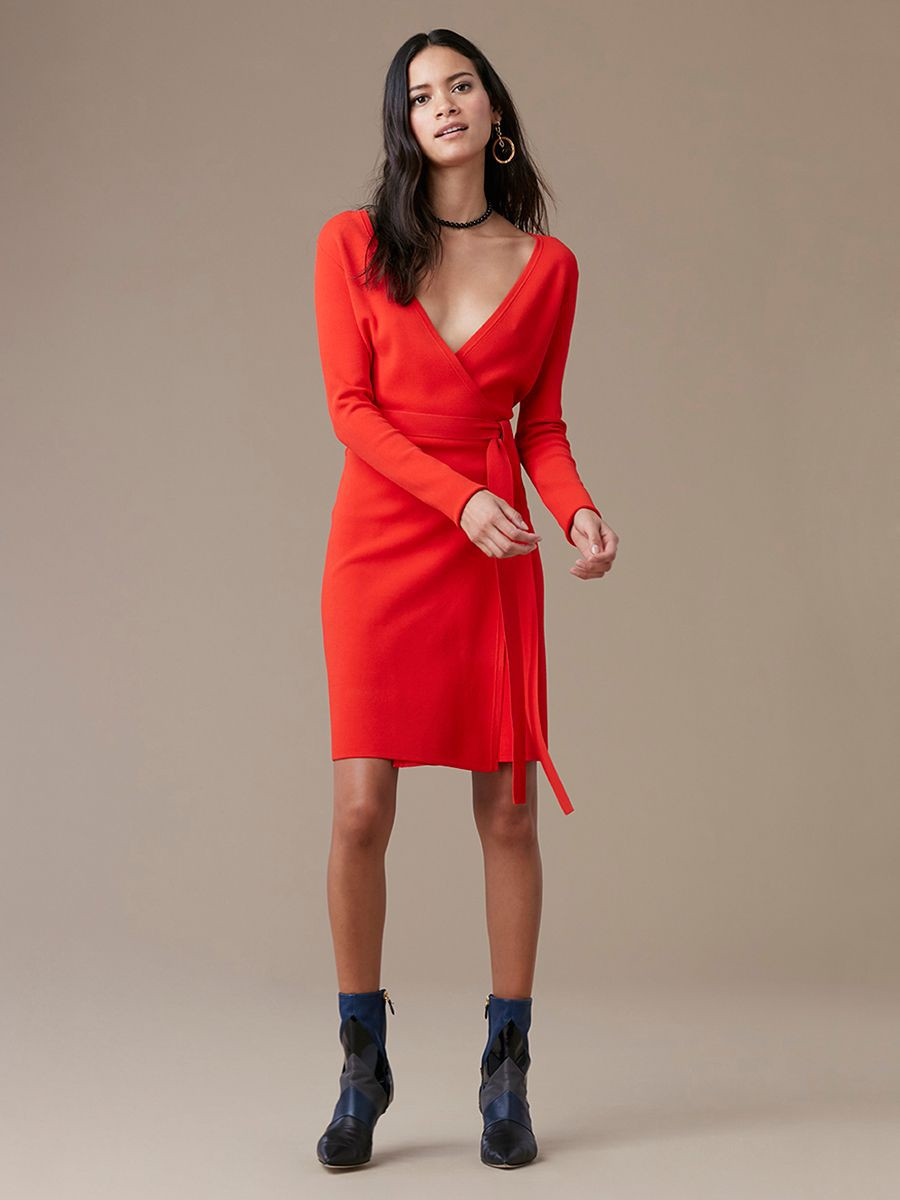 Diane Von Furstenberg Dvf Long Sleeve V Neck Knit Wrap Dress
