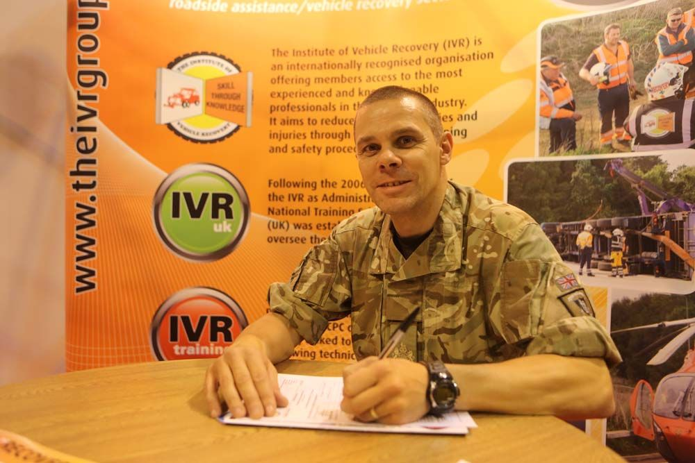 Wo 1 Tidbury at the Tow Show submitting his application to become a full member (MIVR) of the IVR