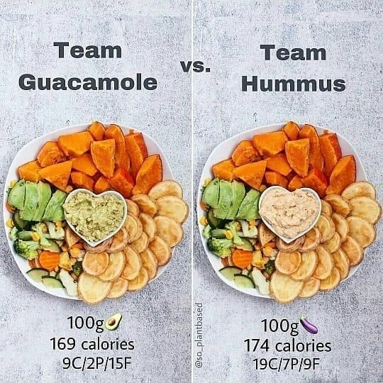 🍳🍳If you want to cook healthy foods 👉CHECK OUT LINK IN BIO @eatinghighlove for more information 👌 ➖➖➖➖➖➖➖➖➖➖ ❤ Team Guacamole or Team Hummus? ••• Which one would you choose: Guacamole💚 or Hummus💛?🙌🏻 Dips are an essential part of every meal 😋 and an easy way to maximize flavor, taste and fun!🌱💥 Hummus and are definitely two of the most popular dips ever — so which one are you? Team Hummus or Guacamole?🤗 . . . . . . . @so_plantbased