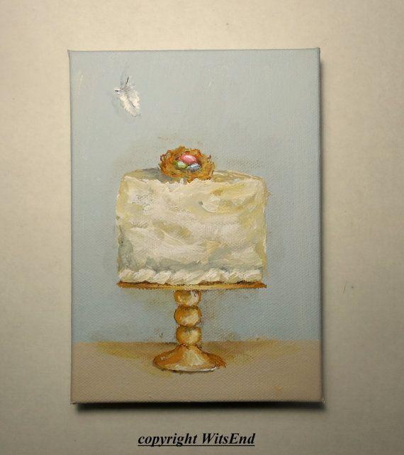 Coconut Bird Nest Cake painting original ooak art Dainty Cakes series by 4WitsEnd, via Etsy