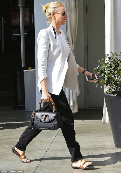 da9a0c98d070 Naomi Watts carrying Gucci Bamboo Bag: Celebrity street style ...