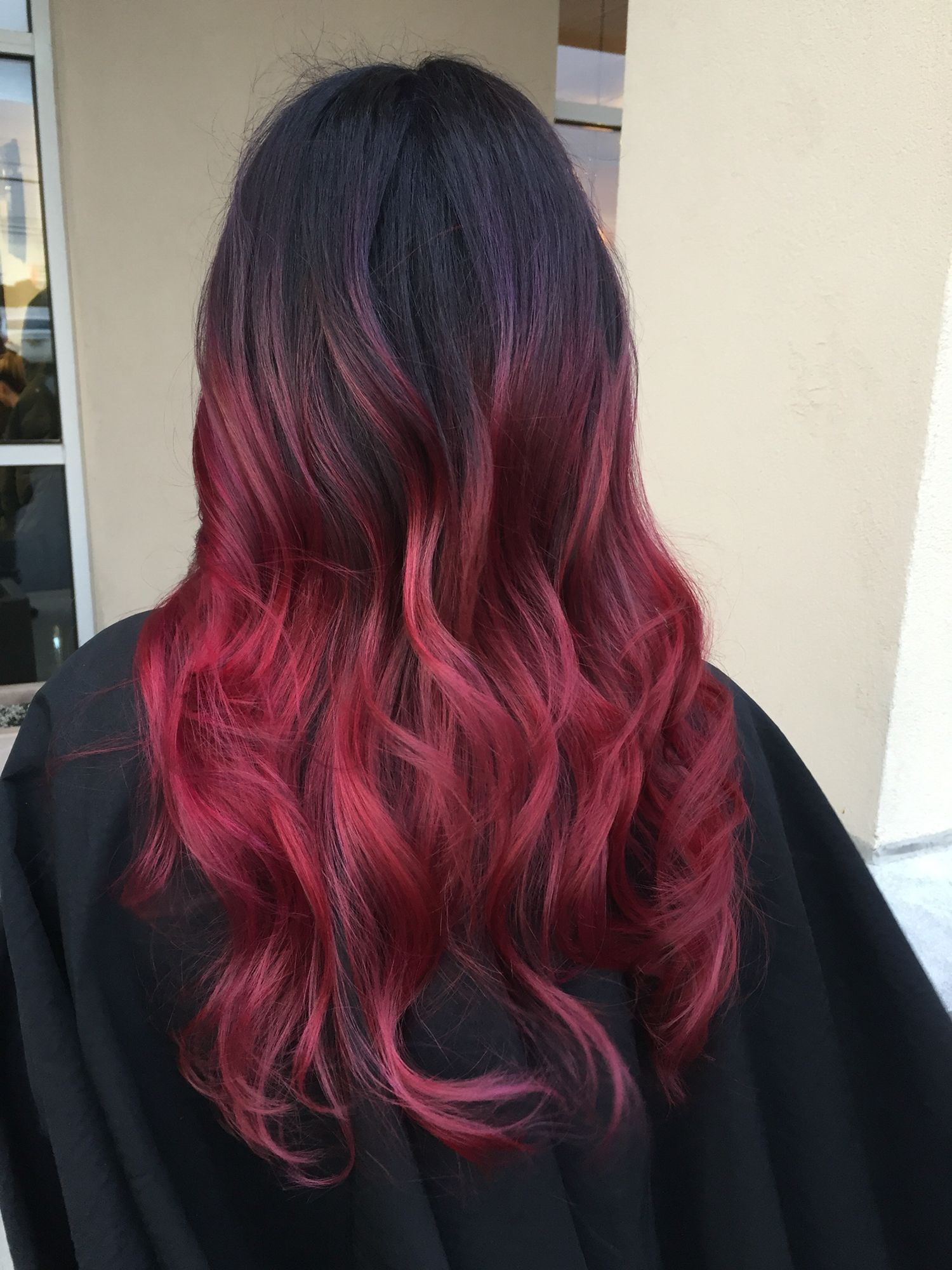 Balayage Dark Roots Fade Into Dark Purple And Then Fade Into Red Dark Ombre Hair Brown Hair Fade Red Ombre Hair