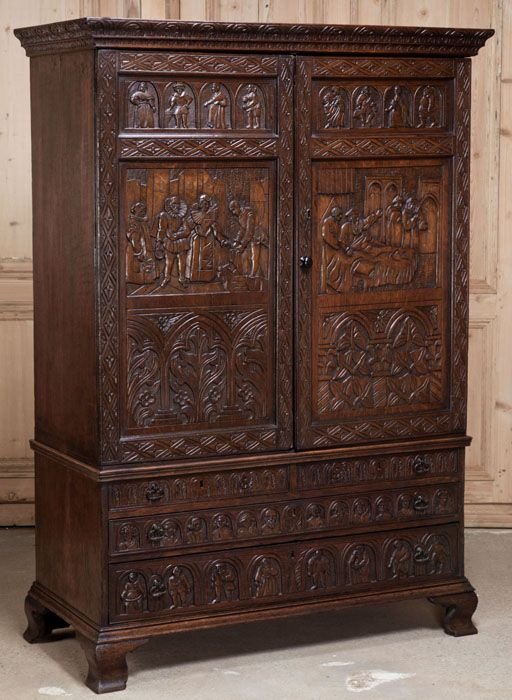 Ordinaire Antique English Country Armoire Circa 1830s. Every Square Inch Of The  Facade Carved! #