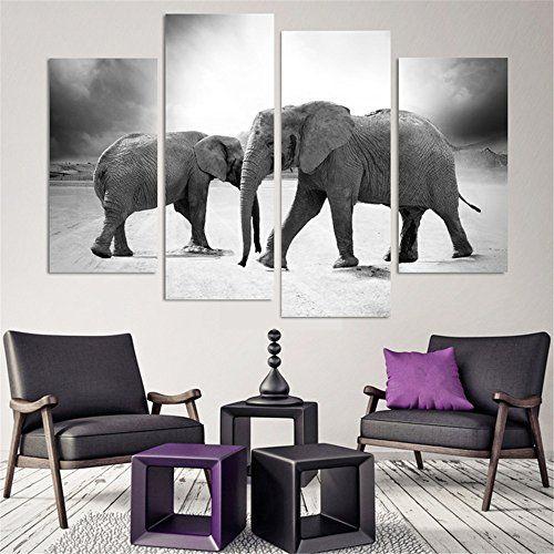 4 Piece Home Decor Oil Painting Two Elephants Hd Print On Https Www Amazon Com Dp B0 Elephant Home Decor Elephant Decor Bedroom Elephant Decor Living Room